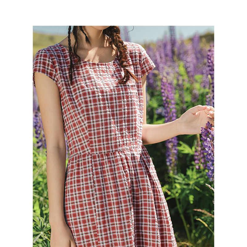 INMAN/2019 Новое поступление, летнее платье с круглым вырезом и коротким рукавом, подчеркивающий талию, ТРАПЕЦИЕВИДНОЕ ПЛАТЬЕ в клетку для молодых девушек