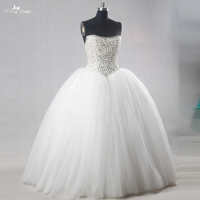 RSW1116 Diamond Crystal Ball Gown Wedding Dresses With Free Veil