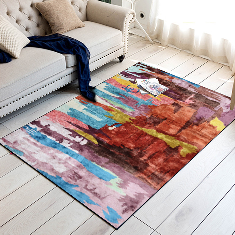 Image 2 - Vintage moroccan Watercolor multicolor mat home bedroom bedside entrance elevator floor mat sofa coffee table anti slip carpet-in Carpet from Home & Garden