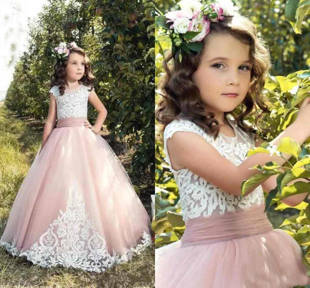 Sleeveless Pink Flower Girl Dresses for Wedding 2018 Girl Dress Ball Gown O Neck Princess Kids Party Gowns with Lace Appliques