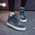 Alta Moda Top Zapatos Otoño de Las Mujeres 2016 Nuevo Lienzo Denim Cremallera Zapatos de Mujer Soltero Zapatos Planos Botas de Invierno Mujer Casual
