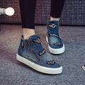 High Top Fashion Women's Autumn Shoes 2016 New Denim Canvas Zipper Shoes Female Single Flat Shoes Botas Invierno Mujer Casual