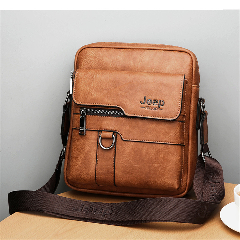 JEEP BULUO Luxury Brand Men Messenger Bags Crossbody Business Casual Handbag Male Spliter Leather Shoulder Bag Large Capacity 7