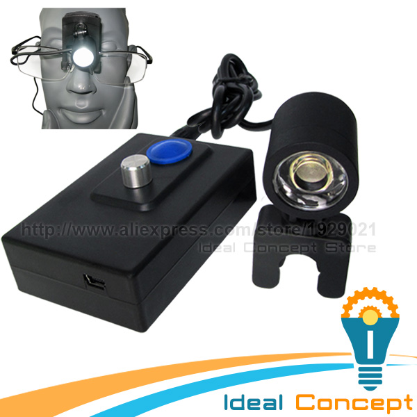 LED Head Light for Dental Surgical Loupe Procedure Rechargeable Battery Aluminun 2.3m Cable Length