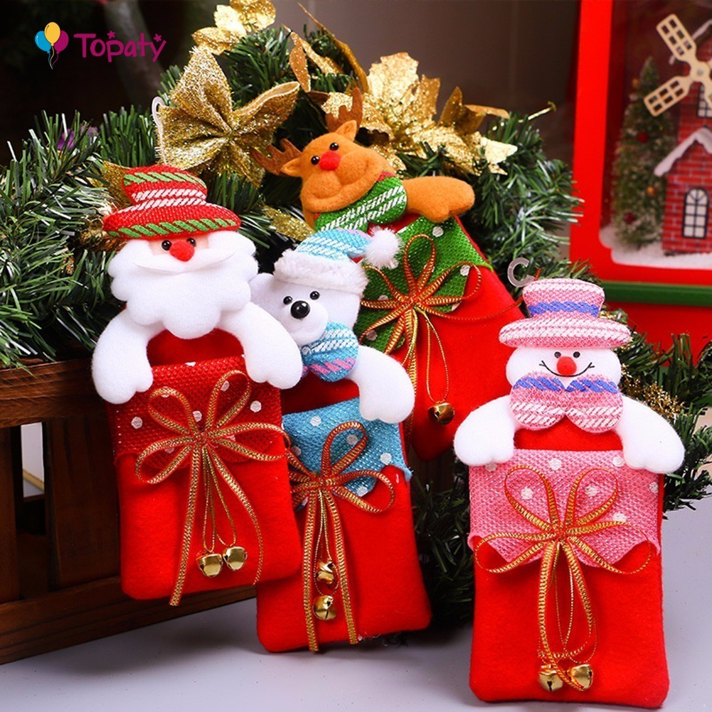 Christmas Santa Claus Gift Bag Kids Xmas Decoration Candy Bag Bauble Christmas Tree Ornaments Supplies Novelty Gifts New Year