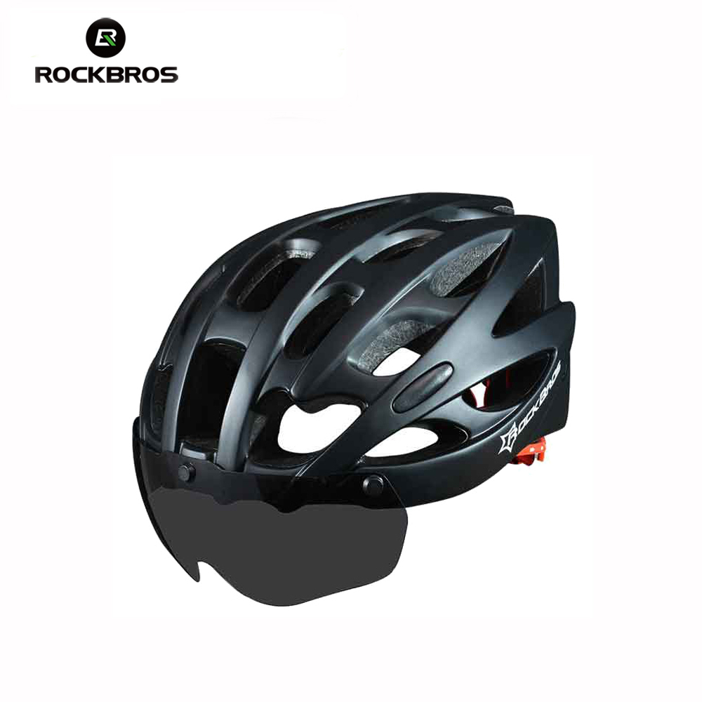 ROCKBROS Bicycle Helmet With Lenses Windproof Men Vents Mountain Road MTB Bicycle Helmet Bisiklet Kask Cascos Ciclismo rockbros 2015 oculos ciclismo mtb 3 10016