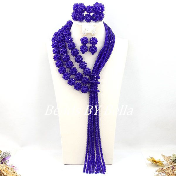 New Fashion Royal Blue Crystal Beads Balls African Jewelry Set Nigerian Wedding Party Beads Necklace Set Free Shipping ABY073 royal blue balls necklace nigerian wedding african beads jewelry set crystal beads women costume jewelry free shipping abf600