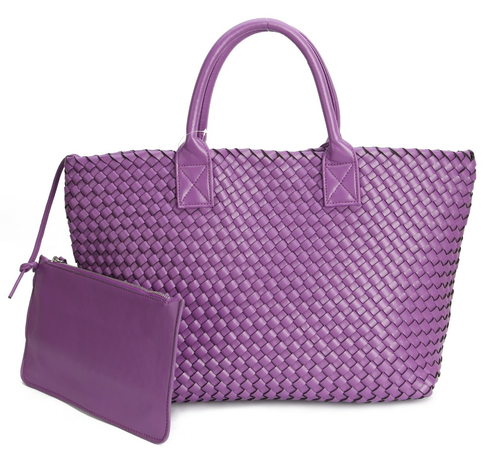 Fesyen mewah premium kulit palsu WOVEN CABAT tas tote beg wanita warna bahu warna gula-gula besar