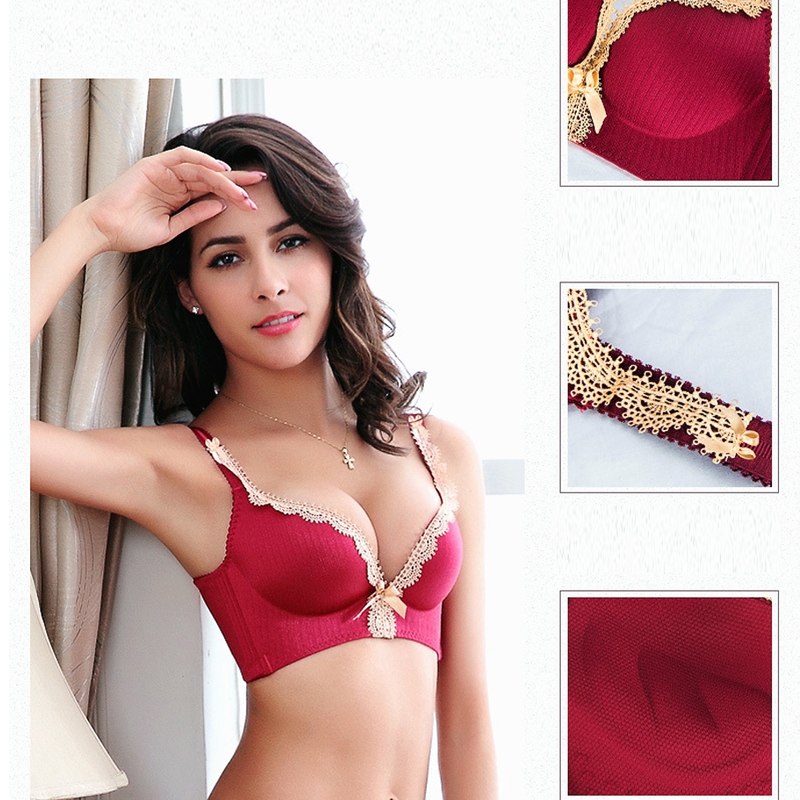 8cebb4c7af39 DeRuiLaDy Hot New Brand Sexy Seamless Palace Ting Lasi Gather No rims  Underwear Lace Lingerie Adjustable Super Push Up Bra-in Bras from Underwear  ...