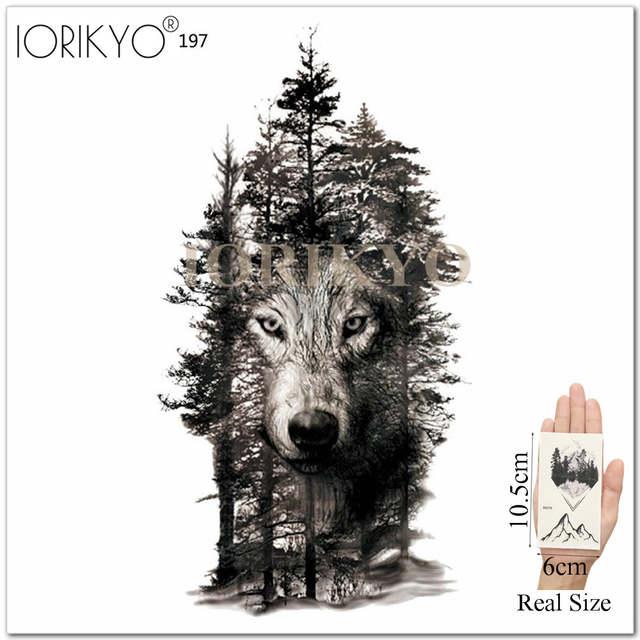 US $0 37 20% OFF|IORIKYO Galaxy Fox Temporary Tattoo Men Cool Arm Bear Hill  Tattoo Stickers Women Body Art Painting Wolf Fake DIY Tatoos Skull-in