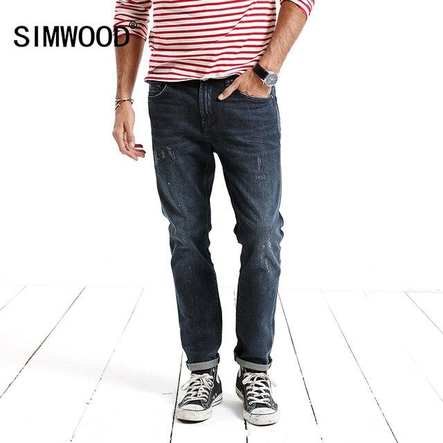 Simwood бренд Джинсы для женщин Для мужчин 2018 новые весенние Рваные джинсы мужские скинни Slim Fit байкер отверстие Высокое качество, Большие размеры nc017034