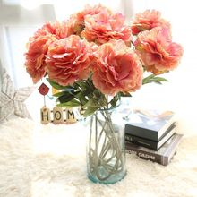Christmas Artificial Peony Flower Single Silk Hand Holding Bouquet Wedding Party Home  Decoration Fake Wholesale