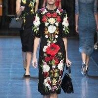 2018 Summer Black Lace Long Dress Women Runway Designer Clothes Floral Embroidery Party Midi Dresses Vestidos Tunic plus size
