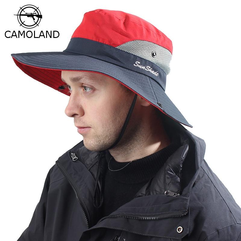 Waterproof Sun Hat Summer Men Women Bucket Hat Fishing Boonie Hat UV Protection Wide Brim Bob Hiking Outdoor Ponytail Panama Hat