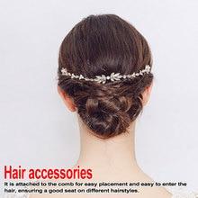 Wired Crystal Rhinestones Wedding Hair Comb Chain accessories Hairband Bridal Headband Bridesmaids Jewelry Women