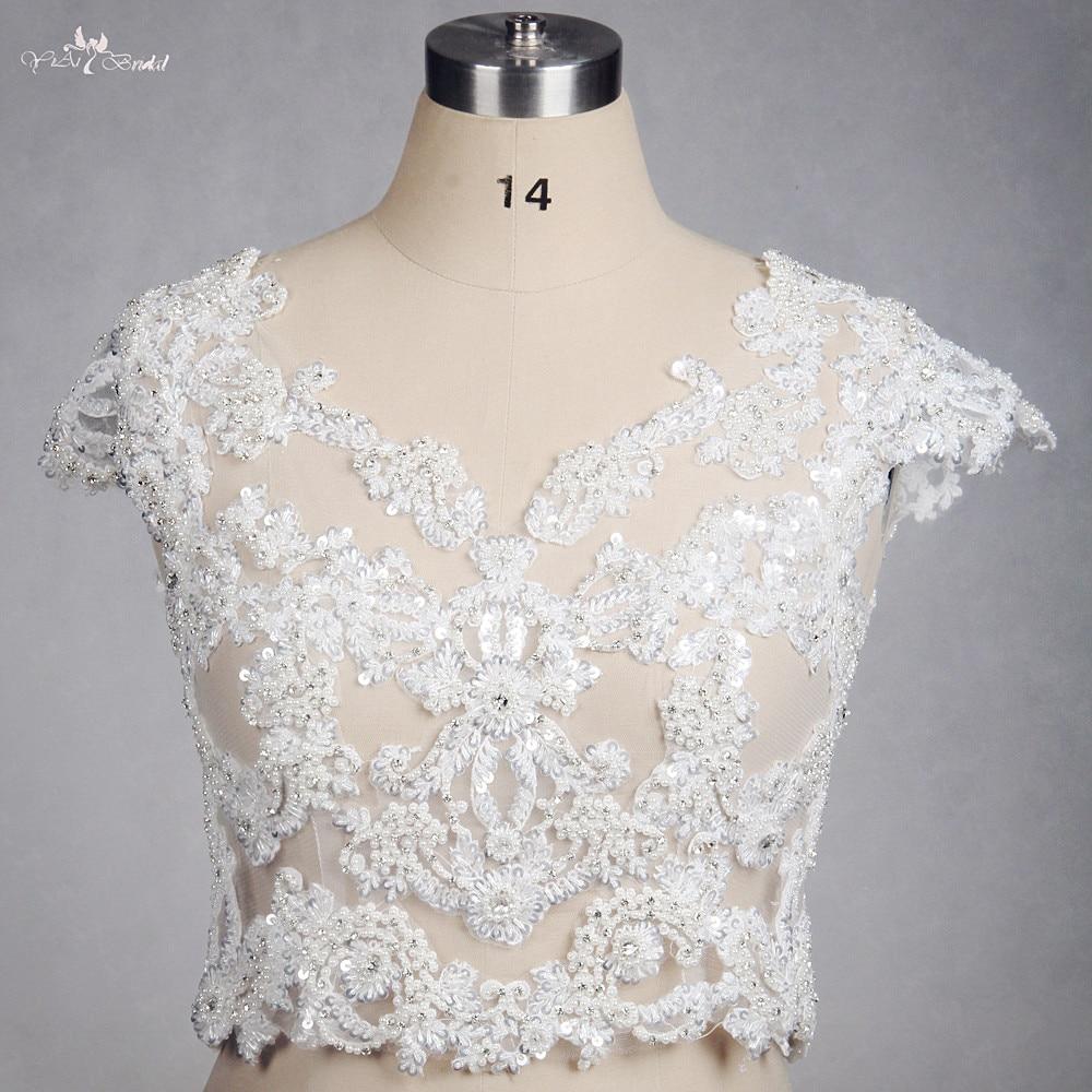 RSJ111 Yiaibridal Cap Sleeves V Neckline Lace Wedding Bolero Beaded Cape-in Wedding Jackets / Wrap from Weddings & Events    1