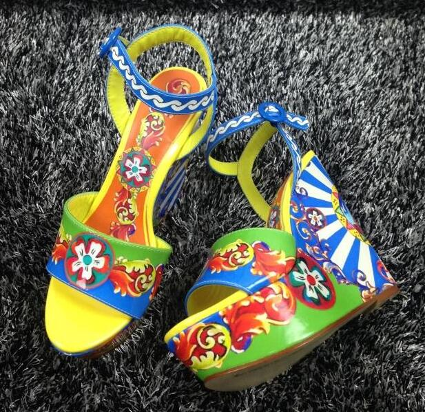 BERDECIA shoes luxury women sandals open toe buckle strap slingbacks wedges sandals high heel platform rainbow colored shoes