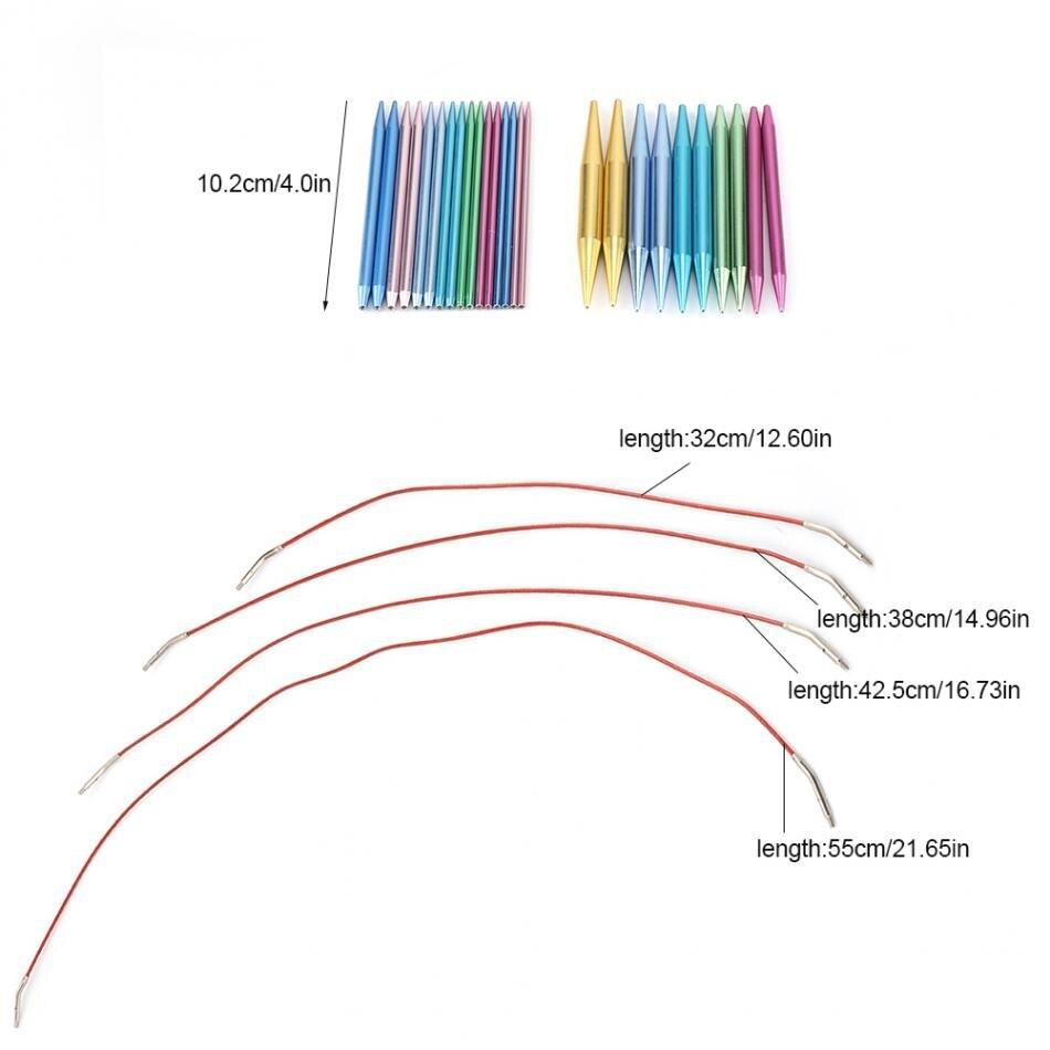 10.2cm Aluminum Needles Interchangeable Circular Knitting Needle Sets
