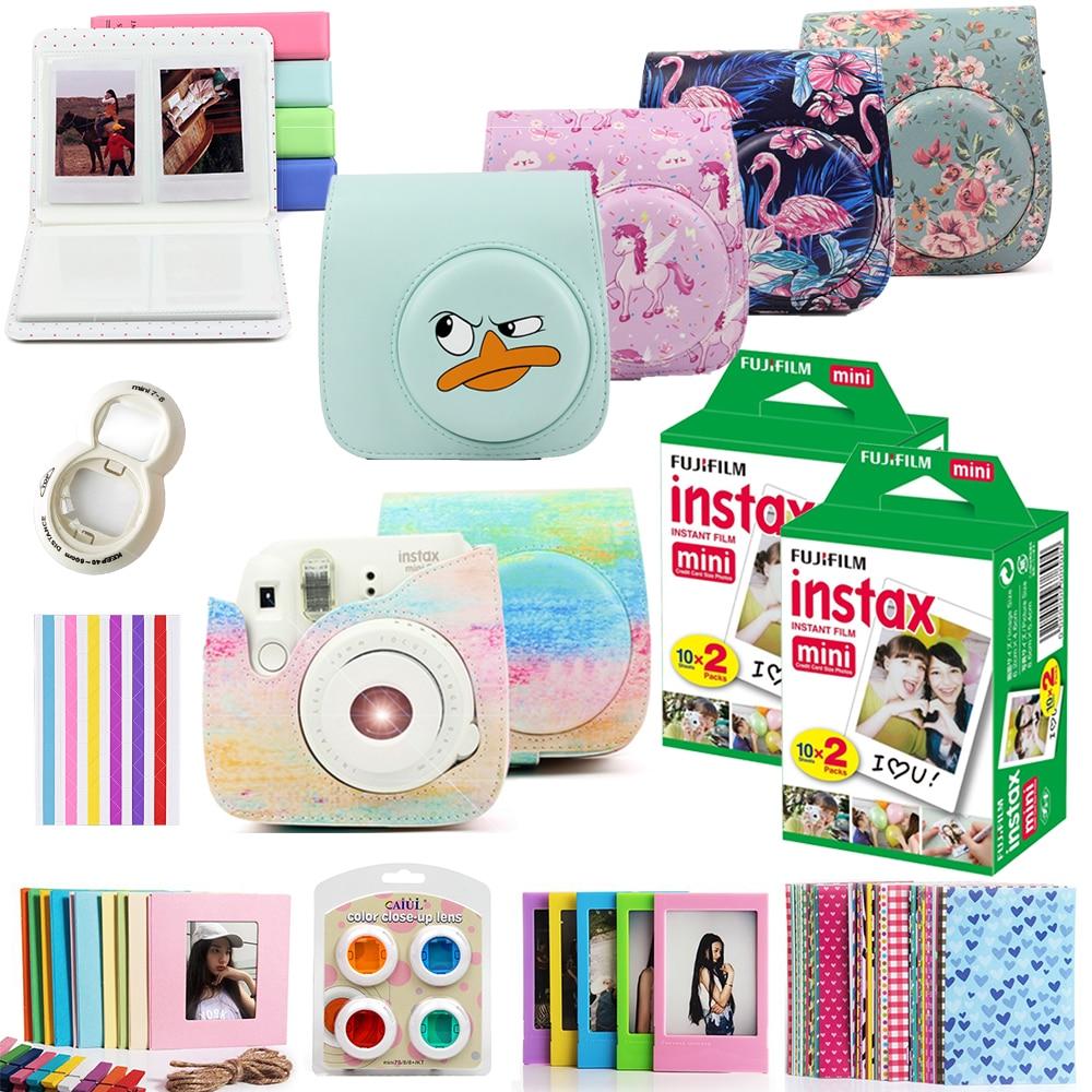 Fujifilm Instax Mini Films 40pcs Instax Mini 8 Instax Mini 9 Instant Photo Camera PU Leather