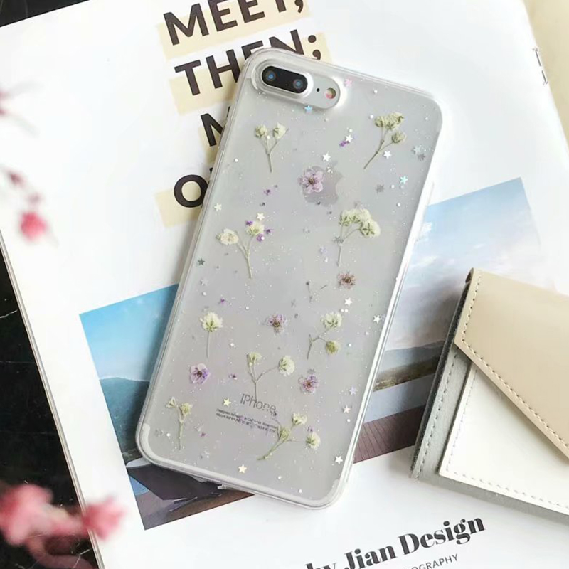 Real Dried Flower Case For iPhone 7 8 Plus XS Max XR XS X 6 6SCase Handmade Clear Soft TPU Fresh Flower Phone Back Cover Fundas (9)