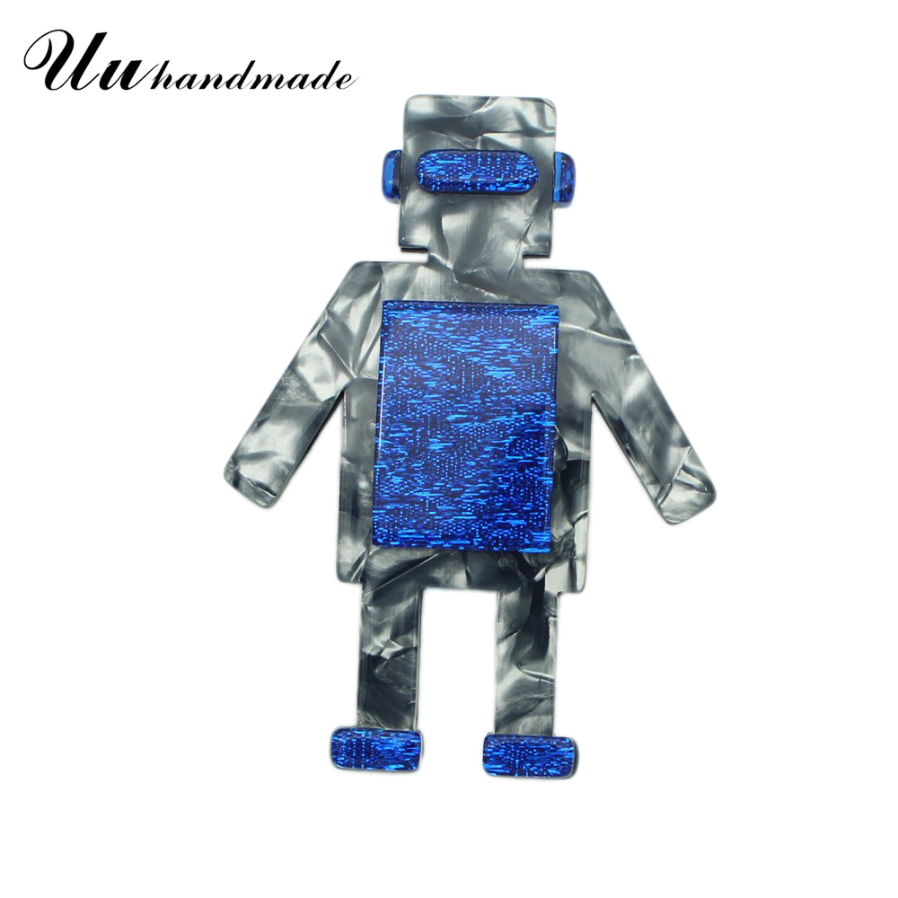 Cut Acrylic Big Robot Brooch Lapel Pin Pins Broches Broche Jewelry Fashion Brooches for Women Kids Accessories New