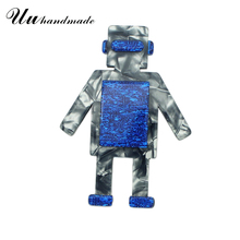 Cut Acrylic Big Robot Brooch Lapel Pin Pins Broches Broche Jewelry Fashion Brooches for Women Kids Jewelry Women Accessories New fishsheep large women figure acrylic brooches and pins fashion resin girl icon big brooch pins female fashion jewelry accessory