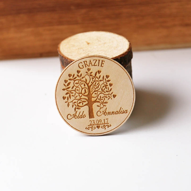 Custom Love Tree Magnets Wood Save The Date Engraved Rustic