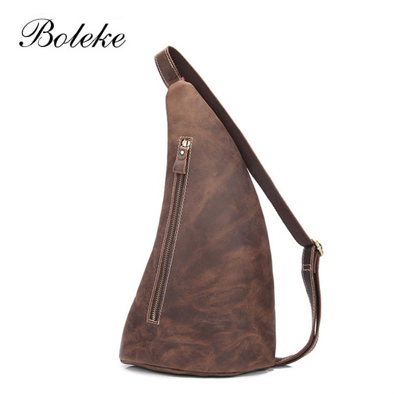 ФОТО New High Quality Vintage Casual Crazy Horse Leather Genuine Cowhide Men Chest Bag Small Messenger Bags For Man X001
