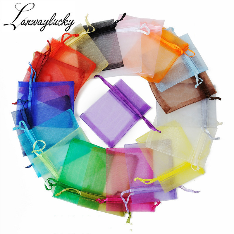 50pcs/lot 7x9cm Organza Gifts Bags Boxes Solid Drawstring Pouch Jewelry Packaging & Display Pouches Wedding Party Durable Bags