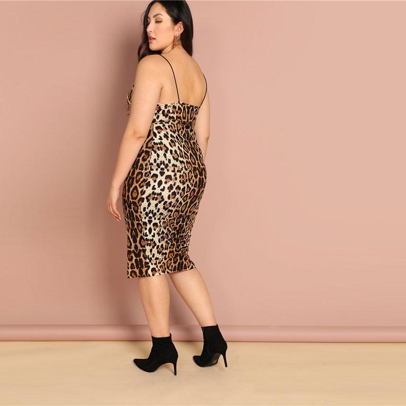 Plus Size Leopard Print Sleeveless Bodycon Slip Dress