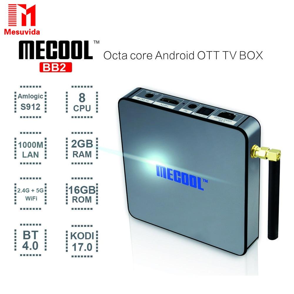 ФОТО Mesuvida MECOOL BB2 Android TV Box Amlogic S912 Octa Core 4Kx2K 2G/16G Android 6.0 TV Box WiFi BT4.0 2.4G/5.8G H.265 4K Player