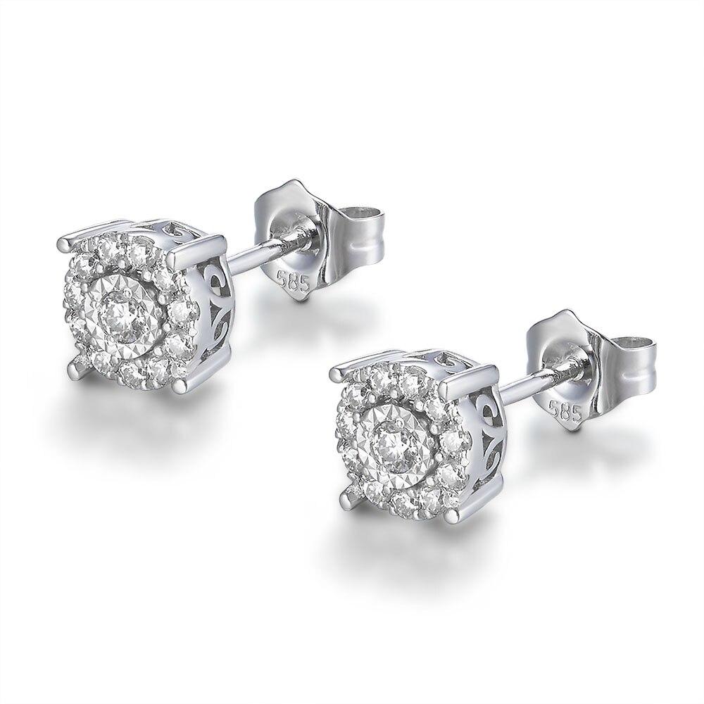 يدويا البلاتين مطلي الفضة FG اللون جولة مختبر مكون المويسانتي الماس أقراط 1/3 ct. Tw VVS1 ل BirthdayGift-في الأقراط من الإكسسوارات والجواهر على  مجموعة 3
