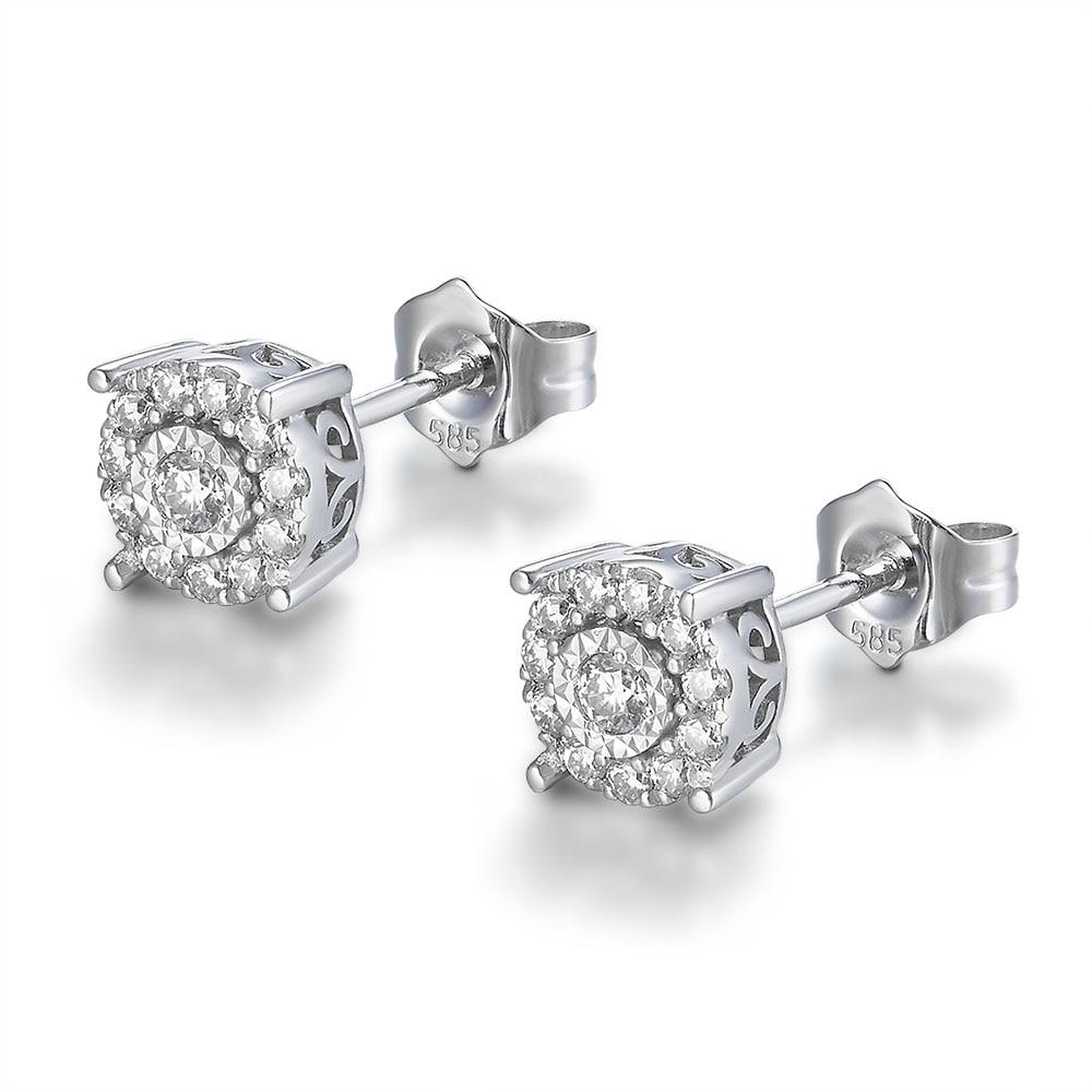 FlipGems 14K białe złoto D F kolor okrągły stworzony w laboratorium Moissanite diamentowe kolczyki sztyfty 1/3 ct. Tw VVS1 dla prezent urodzinowy w Kolczyki od Biżuteria i akcesoria na  Grupa 3