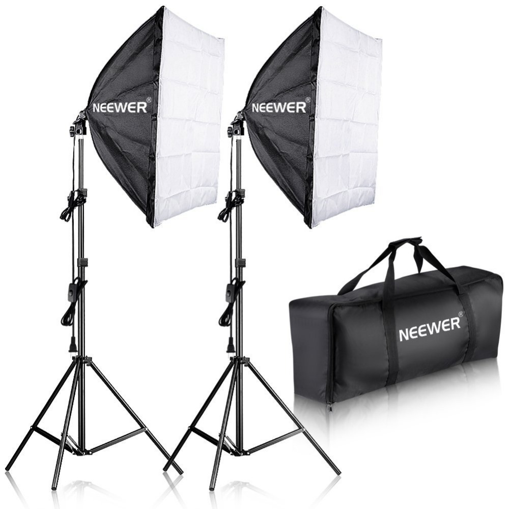 Neewer 700W Professional Photography 24x24 inches/60x60 centimeters Softbox with E27 Socket Light Lighting KitNeewer 700W Professional Photography 24x24 inches/60x60 centimeters Softbox with E27 Socket Light Lighting Kit