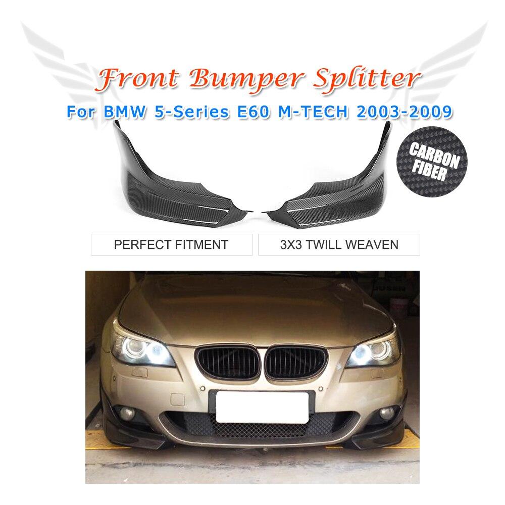 2 pièces/ensemble en Fiber de carbone avant pare-chocs lèvre côté séparateur volets Cupwings pour BMW série 5 E60 M sport 2003-2009 pièces de réglage de voiture