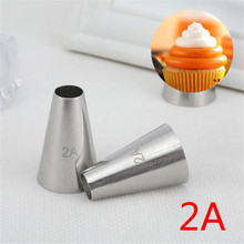 #2A Round Cake Nozzles Pastry Tips Cup Cream Decorating Tool Stainless Steel Cupcake Cookie Piping Nozzle DIY Macaroon