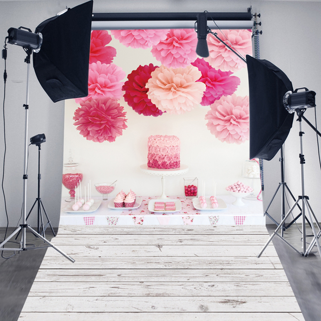 Aliexpress Buy Huayi Vintage Printed Background Art Fabric Newborn Backdrop Studiophotography Props Wood Floor With Birthday Cake D6101 From