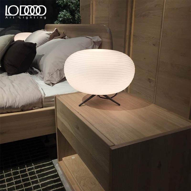 Lodooo E27 современная настольная лампа для Гостиная современные настольная лампа прикроватная лампа led, декоративный Стекло настольная лампа - 5