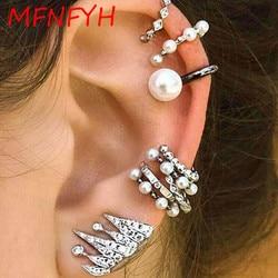 Mfnfyh 2017 simulated pearl round clip cuff earring set for women fashion silver color rhinestone crown.jpg 250x250