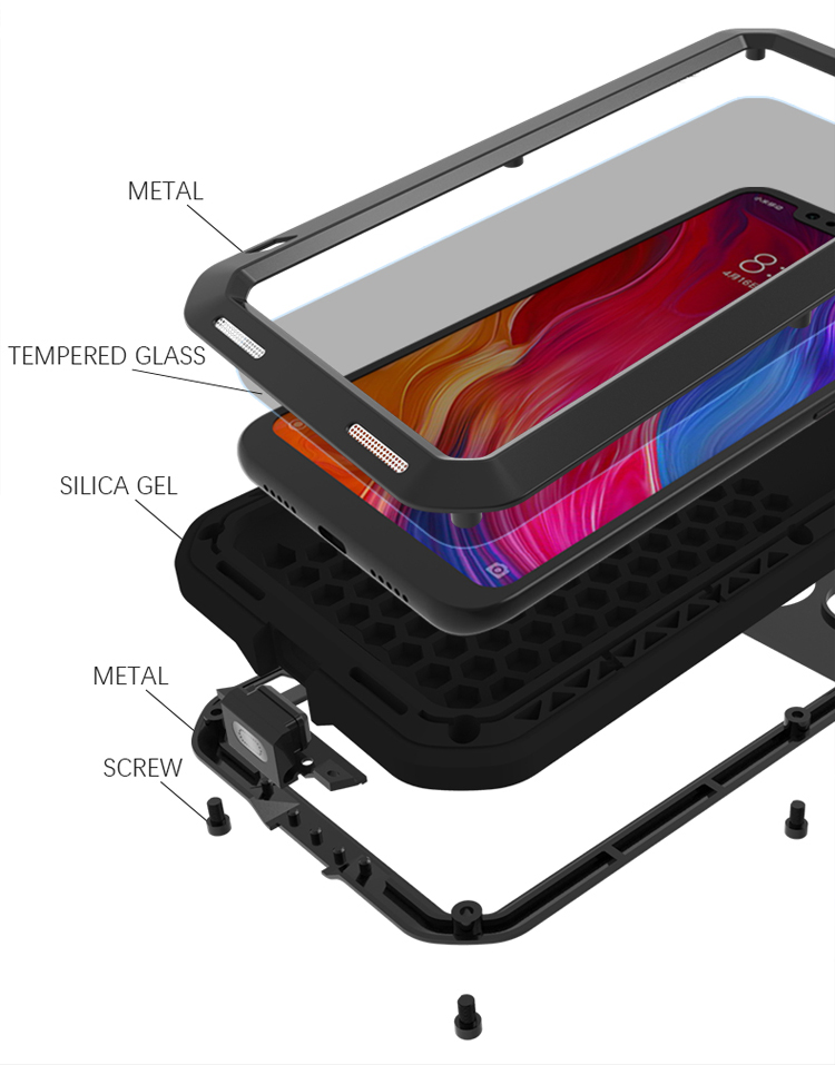 Waterproof Cover for Xiaomi Mi 8 Mi8 Case Aluminum Metal Shockproof Case For Xiaomi Mi 8 Heavy Duty Protection Cover for Xiaomi8 in Fitted Cases from Cellphones Telecommunications