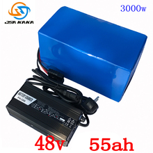 48V 2000W 3000W battery 48V 55AH lithium battery pack 48V 55AH electric bike battery with 70A BMS +54.6V 5A Charger duty free