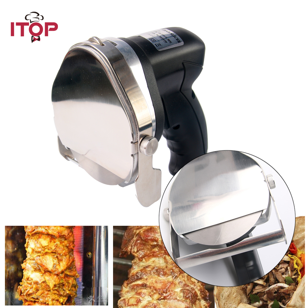 Fast Delivery! Automatic Electric Doner Kebab Slicer for Shawarma,Kebab Knife,Kebab Slicer,Gyros Knife,Gyro Cutter With 2 Blades itop automatic doner kebab slicer for shawarma kebab knife gyros knife gyro cutter two blades 220v 110v 240v