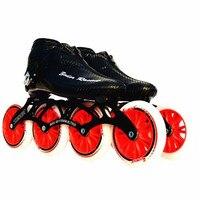 Стоит углеродного волокна и стекловолокна Скорость роликовые коньки черный детский взрослого конкурса уличные гонки Спортивная обувь Обу