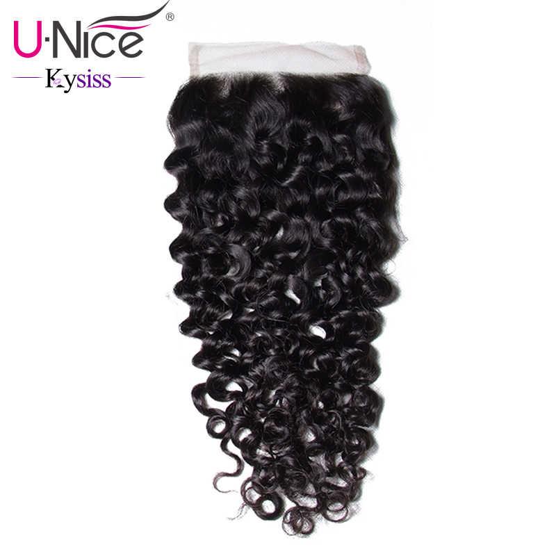 """Волосы UNICE 8A Kysiss серии бразильские вьющихся волос Кружева Закрытие натуральная натуральные волосы Закрытие 4 """"x 4"""" швейцарские кружева 1 шт"""