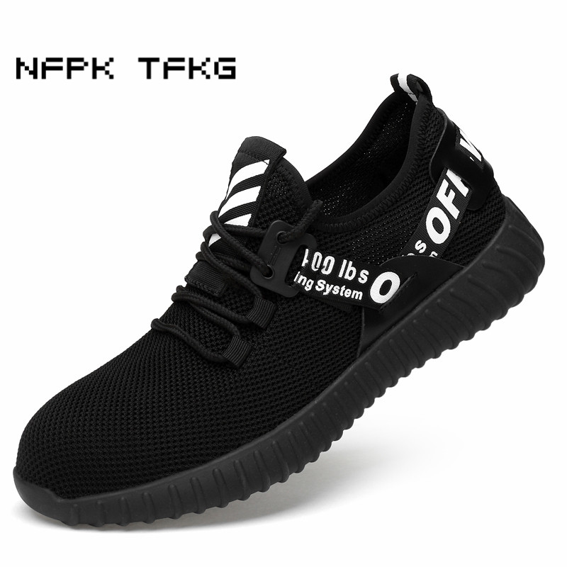 new fashion mens plus size breathable steel toe covers work safety summer shoes non-slip building site worker security boots man new jersey as non site