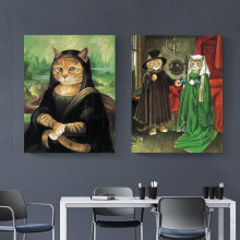 WANGART Canvas Wall Art Picture Abstract Fat Cat Art Animal Oil Painting Pictures For Living Room Poster And Print Home Decor(China)