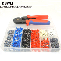 Ferrule Crimper Plier Set 0.25 10mm2 Self adjustable Ratchat Wire Crimping Tool with 1200 Wire Terminal Crimp Connector