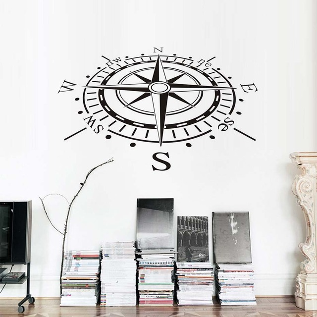 Lovely Nautical Compass Wall Stickers For Kids Room Wall Decor Vinyl Removable Pvc  Sailing GPS Decals Office