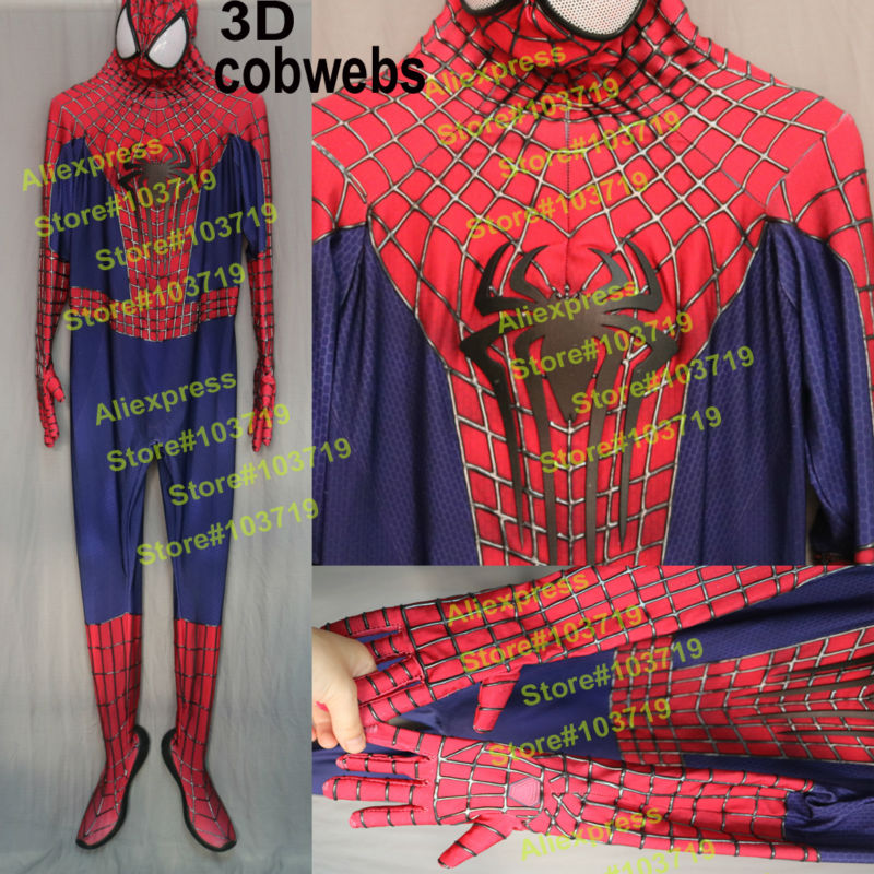 High Quality Spiderman <font><b>Costume</b></font> Adult 3D Cobwebs Embossed Spider <font><b>Amazing</b></font> <font><b>Spider-Man</b></font> 2 Cosplay <font><b>Costume</b></font> Embossed Spiderman <font><b>Costume</b></font>