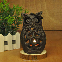 Cast Iron Table Top Lantern Candle Holder Tealight Holder Lantern Black Owl